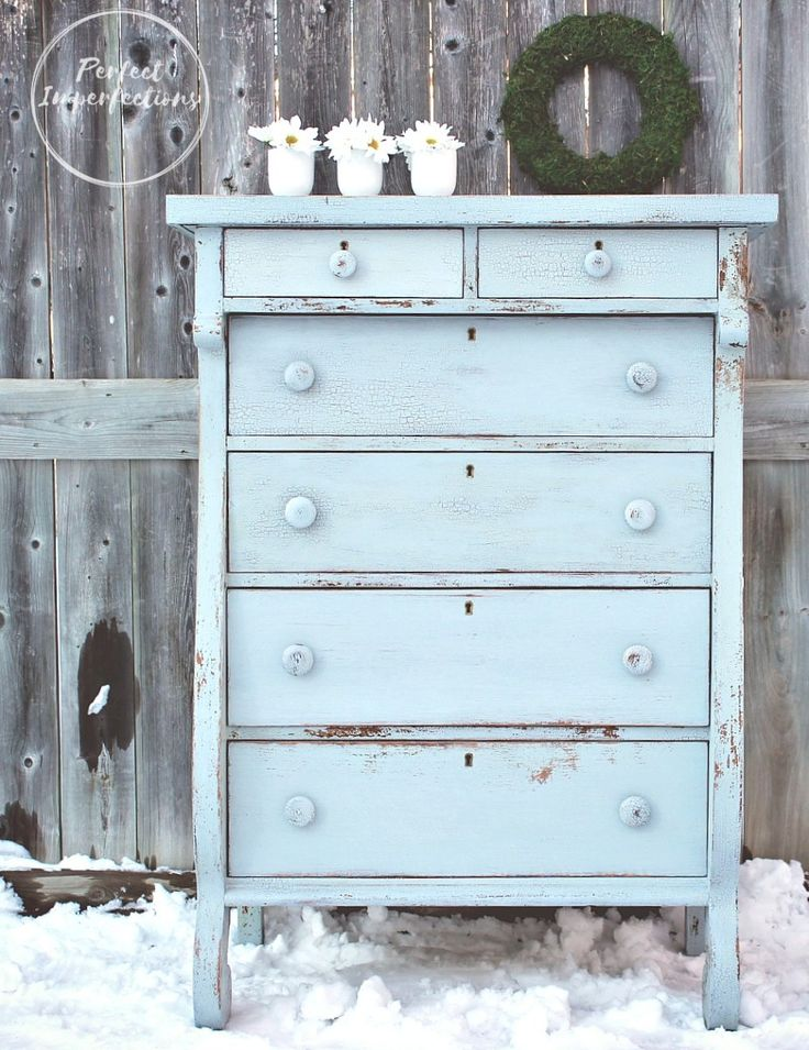 charming vintage empire dresser painted in old fashioned milk paint slate