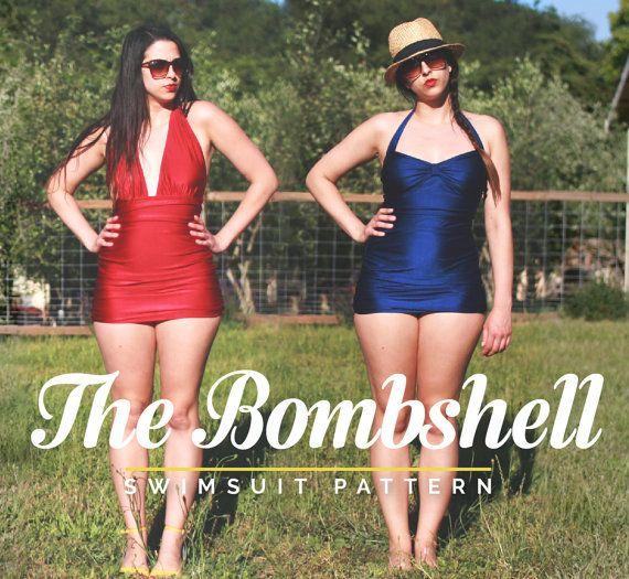 Maillot de bain bombe / baignade costume PDF Pattern. Style vintage. 3 variantes : dos nu, maillot, bikini taille haute