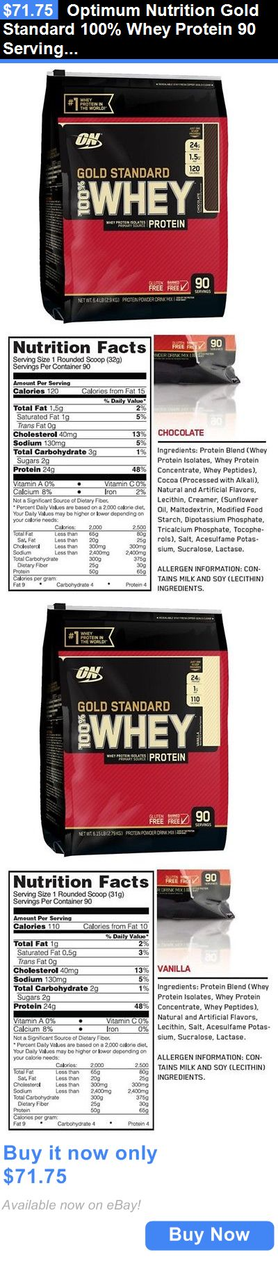 Health And Fitness: Optimum Nutrition Gold Standard 100% Whey Protein 90 Servings 6Lbs Free Shipping BUY IT NOW ONLY: $71.75