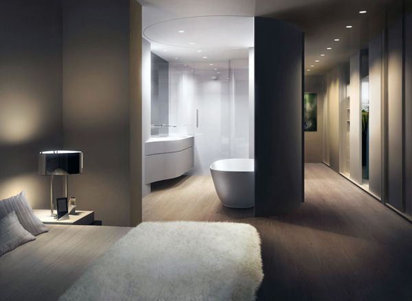 Photo Gallery On Website Loft Master Bathroom Design by UNStudio movable curved wall