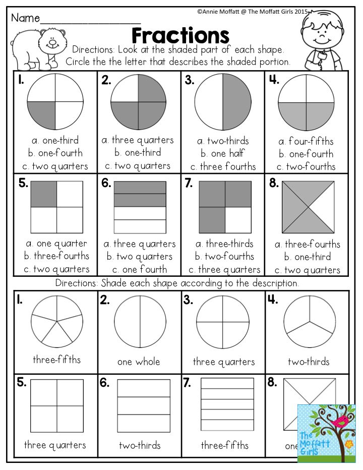 fractions look at the shaded part of each shape and circle the correct answer fun math. Black Bedroom Furniture Sets. Home Design Ideas