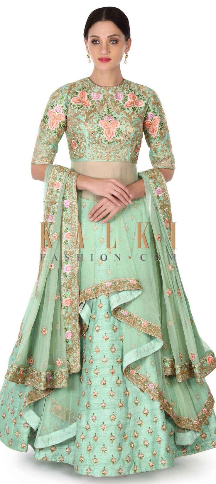 Buy this Green lehenga with long embroidered blouse only on Kalki
