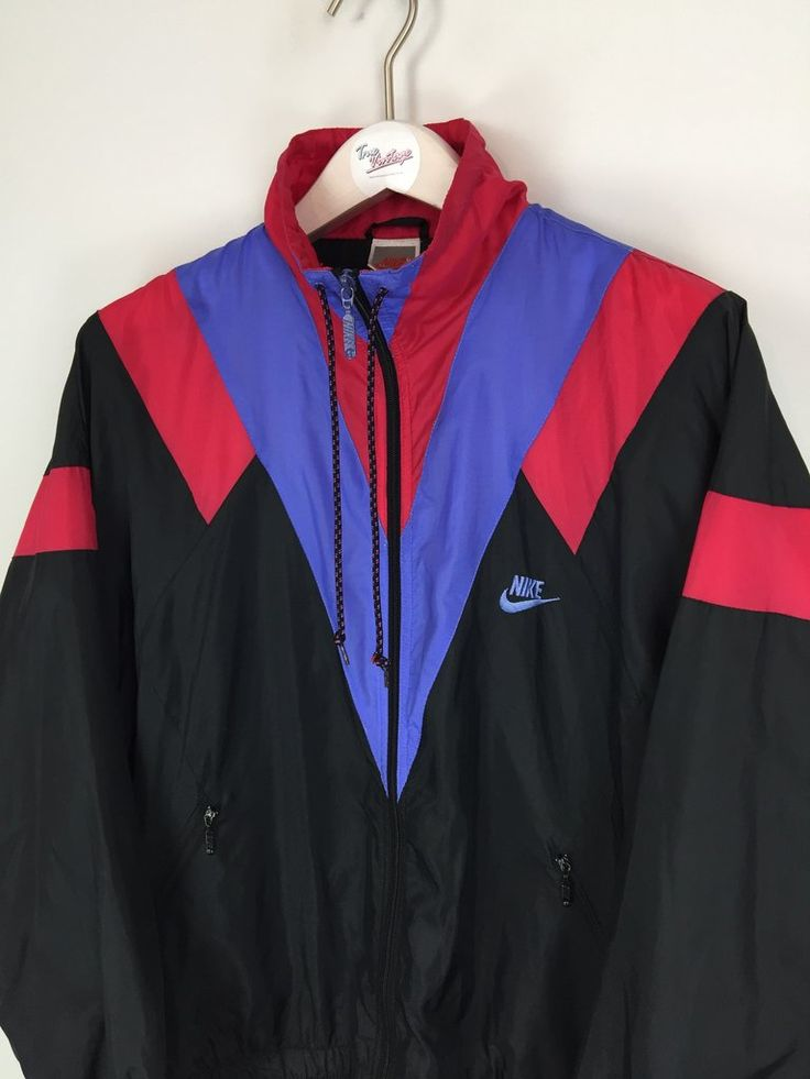 Nike Shell Suit Jacket Black Purple Red Large Shell Suit
