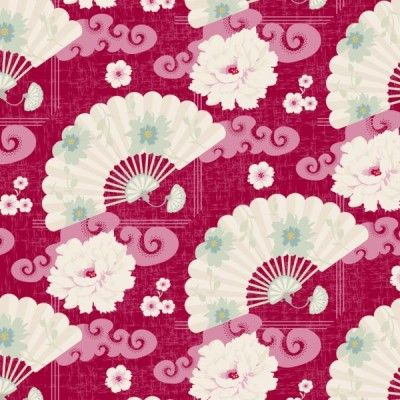 Tilda Christmas Play Fat Quarter - Chinese Fan Red - Tilda Crafts - Sewing