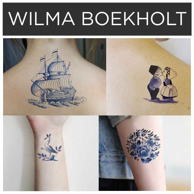 Designs in blue ink by Wilma Boekholt . | 15 Incredible Artists Who Will Change Your Mind About Temporary Tattoos