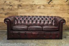 Divano Chesterfield 3 posti Vintage Originale Inglese in Pelle color Marrone