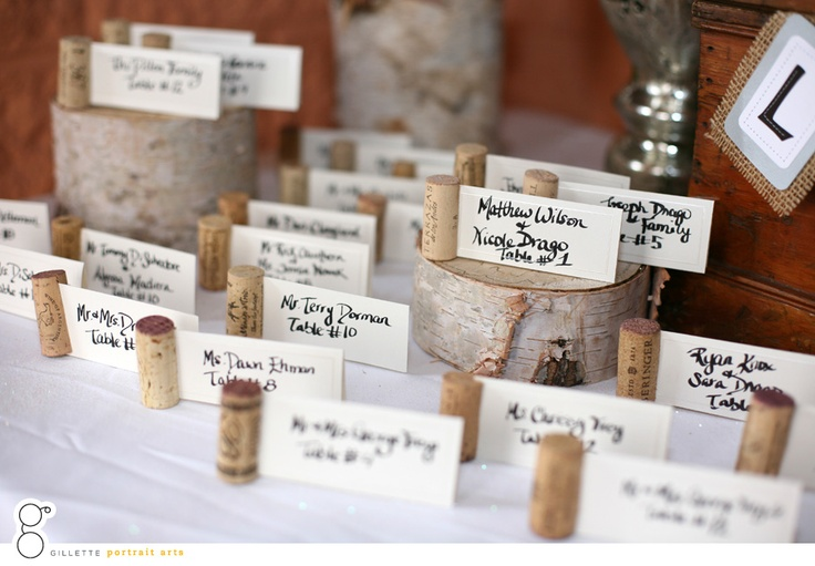Wedding Guests Wine Cork Place cards   - what a great idea!!!!!