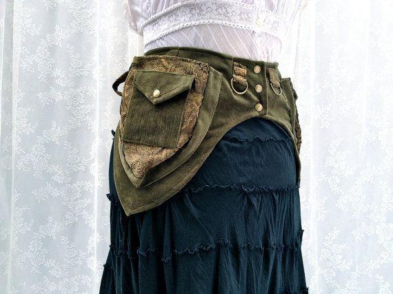 Burning Man utility belt - steampunk pocket belt - olive and gold fabric festival belt - petite utility belt - XXS