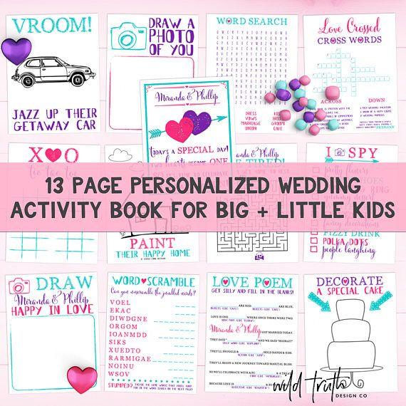 Houdt de kinderen vermaakt met deze aangepaste bruiloft activiteit boek! Het heeft chock volledige van games voor kinderen van alle leeftijden. Ze zal hebben tonnen plezier, hopelijk blijf uit de problemen, en het beste deel-ouders krijgt om te genieten van de festiviteiten zonder te veel onderbrekingen. (wink-wink) ══════════════════ Wat is inbegrepen ══════════════════ ✘ Verpersoonlijkingen--echtpaar namen + kleuren ✘ Uw keuze van 13 pagina afdrukbare PDF-versie [of] fysieke Printed…