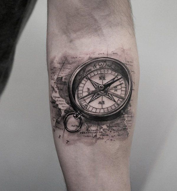 Compass and map tattoo - 100 Awesome Compass Tattoo Designs  <3 <3
