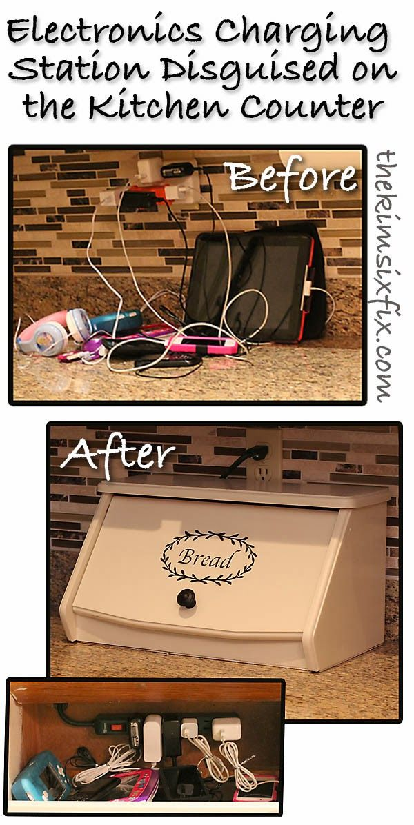 Use a bread box to create a hidden charging center!  Love this idea! Now I need a breadbox... www.thekimsixfix.com