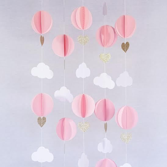 Pink White Gold Glitter Hot Air Balloon Hearts Cloud Baby Nursery Garland Banner #NP #BabyShower
