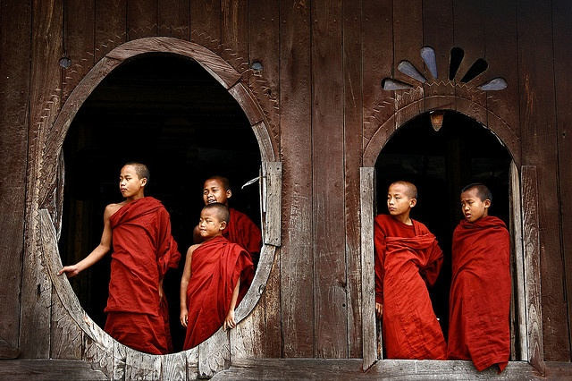 novices at Shwe Yan Pyay Monastery, near Inle Lake in Myanmar's Shan State.