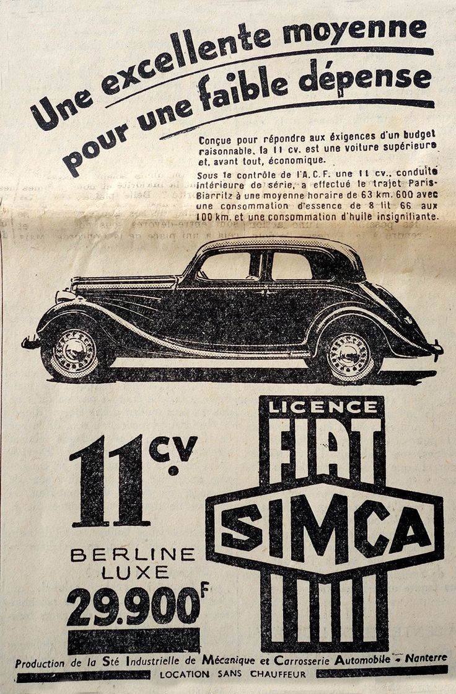 SIMCA FIAT ADVERTISING - Journal Le Petit Parisien - 1936 / / www.photogriffon.com