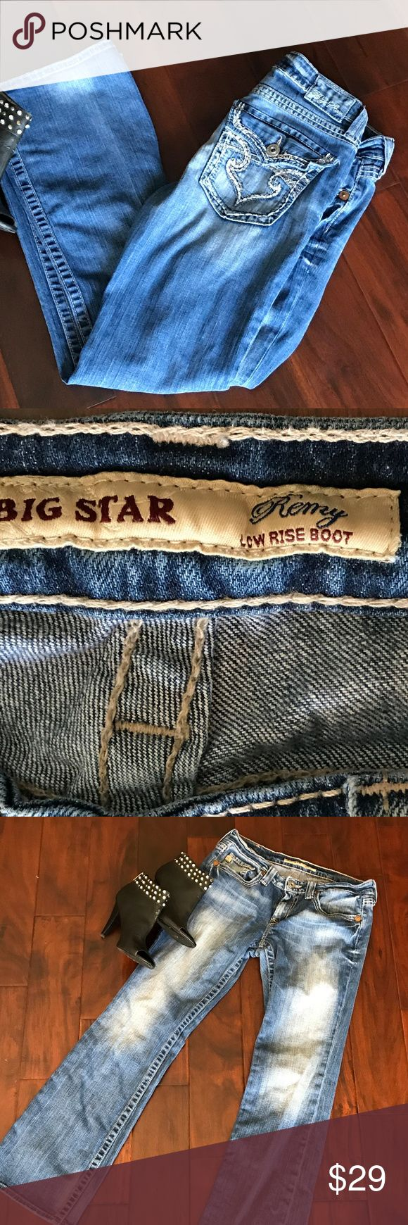 """Big Star Womens Jeans Remy Low Rise Boot Awesome Big Star Remy Low Rise Boot Cut Jeans.  29S  Medium denim with factory fading on thighs.  Flap style pockets in back with thick stitching.  Excellent pre-owned condition.    Waist = 16 laying flat"""".  Inseam = 31"""".  Rise is 8"""".  Leg opening = 9"""".  Smoke free home! Big Star Jeans Boot Cut"""