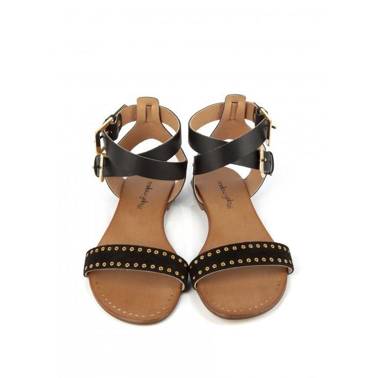 Sandale plate VRAP Noir - Sandale plate - Femme Soldes - SOLDES