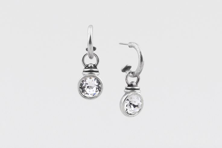 E2243 Medium burnished silver Pretty Woman #hoop #earrings worn with embellished E1000 classic #Swarovski #crystal Pretty Woman #charms - www.miglio.com