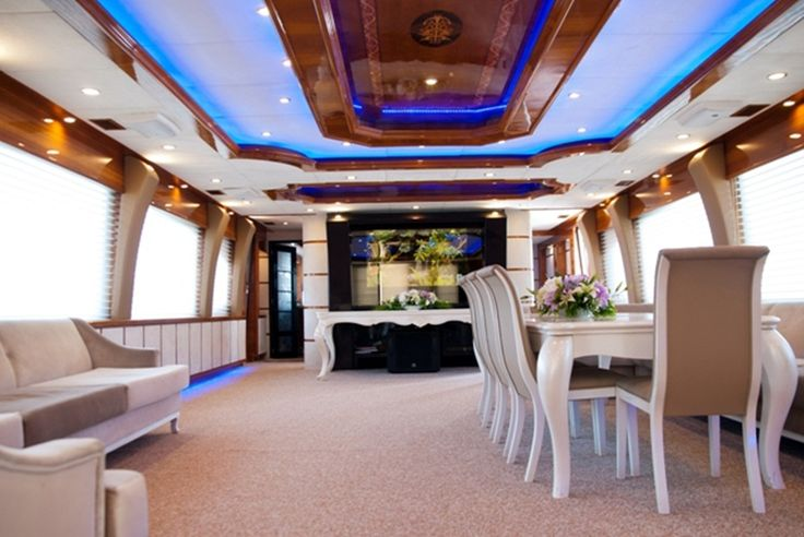 Inner side of a yacht for the wedding ceremony
