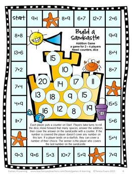 FREEBIE - Addition Board Games by Games 4 Learning contains 2 Printable Addition Board Games for addition up to 20.
