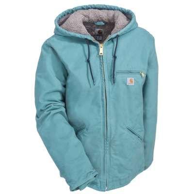 Carhartt Jackets: Women's WJ141 454 Blue Sherpa-Lined Sandstone Sierra Work Jacket