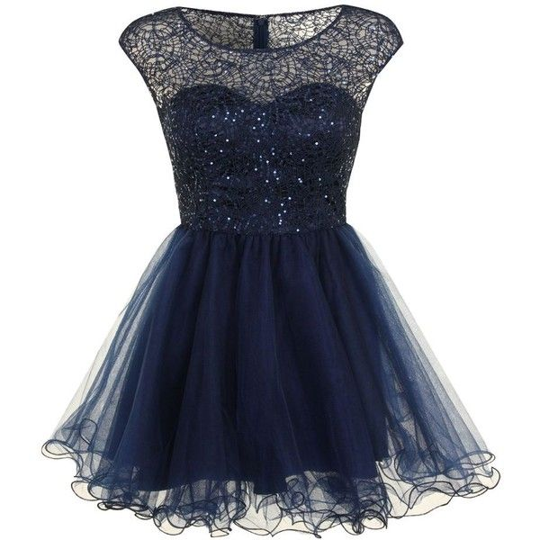 Chi Chi London Lace and sequin prom dress ($55) ❤ liked on Polyvore featuring dresses, blue, short dresses, vestidos, navy, sale, lace cocktail dress, navy cocktail dress, prom dresses and knee length cocktail dresses