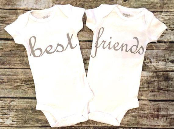 Twin Onesies Baby Boy Baby Girl Onesie Best Friends by ALGDezigns