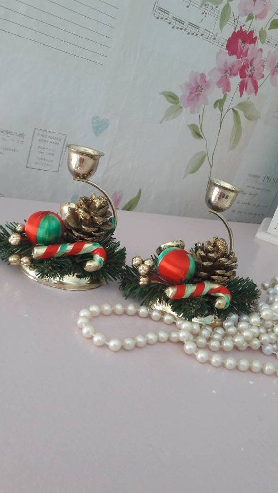 Pair Christmas candle sticks two festive candle holders holiday