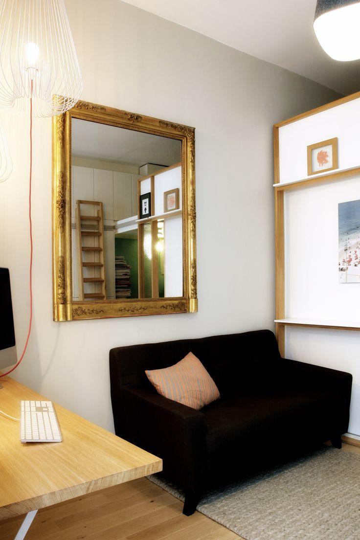 aménagement d'intérieur d'un appartement de 14,88 m2. CREATION JOCELYN DERIS Crédit photos ANTHONY SERPE