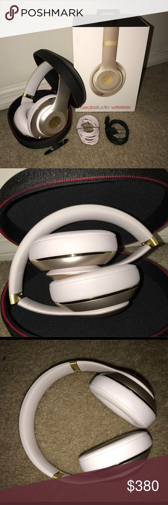 Beats Studio Wireless Bluetooth Headphones- Gold Over the ear beats headphones, charger and wire core included, hard shell case, instruction manual. These headphones have all-day charge, a flexible fit, and on-ear controls. ONLY WORN TWICE, very new. Beats Other