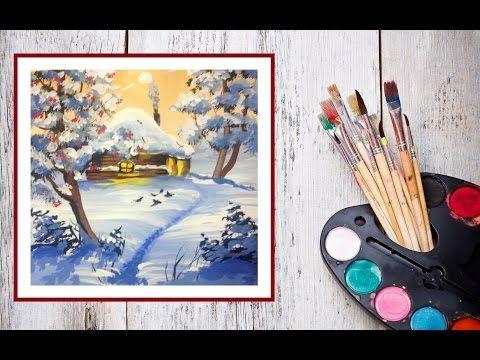 Видео урок Рисуем гуашью Зимнюю сказку - YouTube