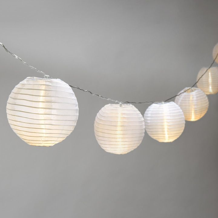 "Lights.com | String Lights | Decorative String Lights | Ara White 6"" Lantern String Lights, Strand of 10"
