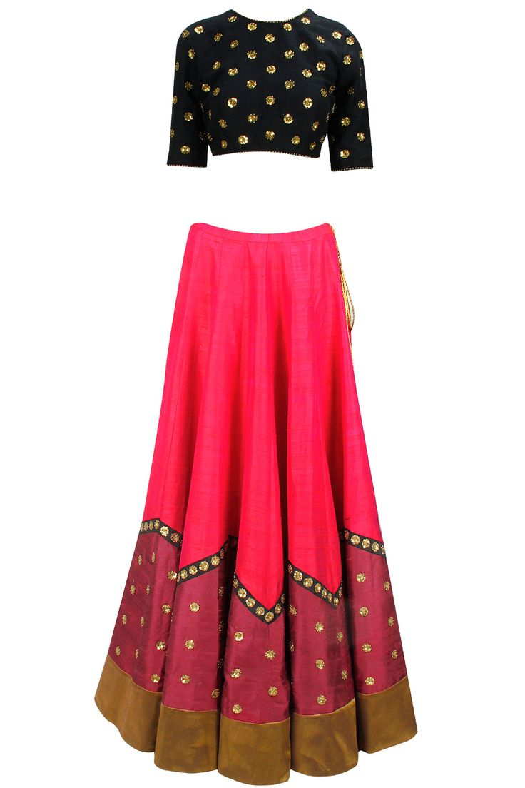 Red and black gold sequin embroidered lehenga set available only at Pernia's Pop-Up Shop.