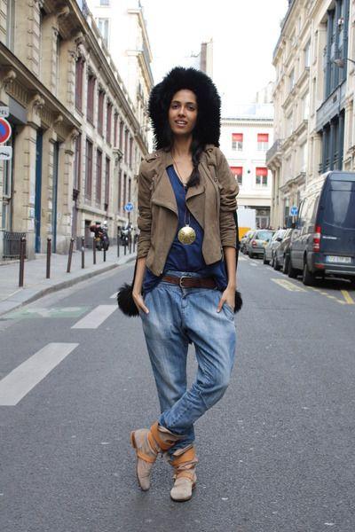 Smita -                                                                       Vivienne Westwood Boots, Black Thrifted Vintage Coat, Zara Jeans, Suede Virginie Castaway Jacket, Sandro t-shirt