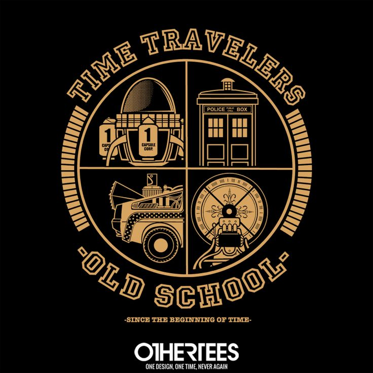 """Time Travelers Old School"" by FernandoSala T-shirts, Tank Tops, V-necks, Sweatshirts and Hoodies are on sale until February 11th at www.OtherTees.com #TimeMachine #DoctorWho #Tardis #BackToTheFuture #TimeTravels #TimeTraveling #OtherTees #Tshirts #Geeky"