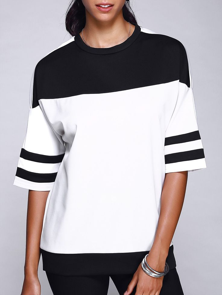 Stylish Round Neck Color Block Varsity-Striped T-Shirt For Women