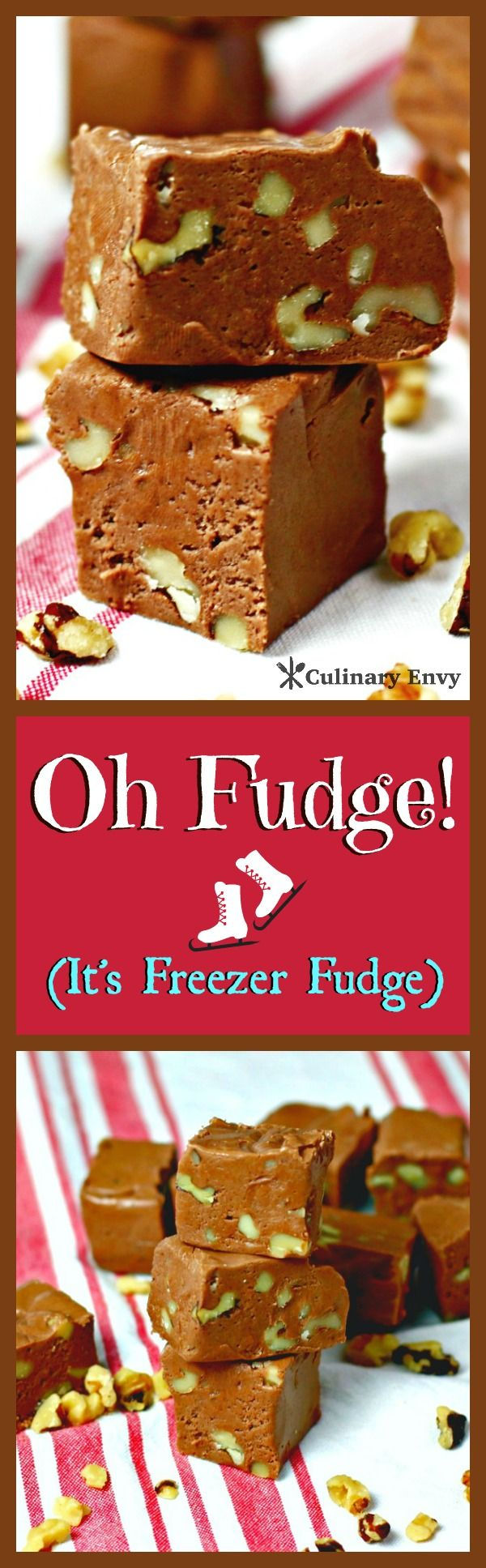 Oh Fudge is decadent, intensely chocolaty and velvety, silky smooth.  This freezer fudge is so creamy and rich; it just melts in your mouth.