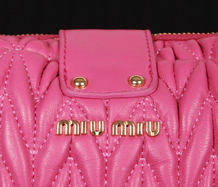 Miu Miu Newest Matelasse Cherry Pink Clutch Bag 4 #bags