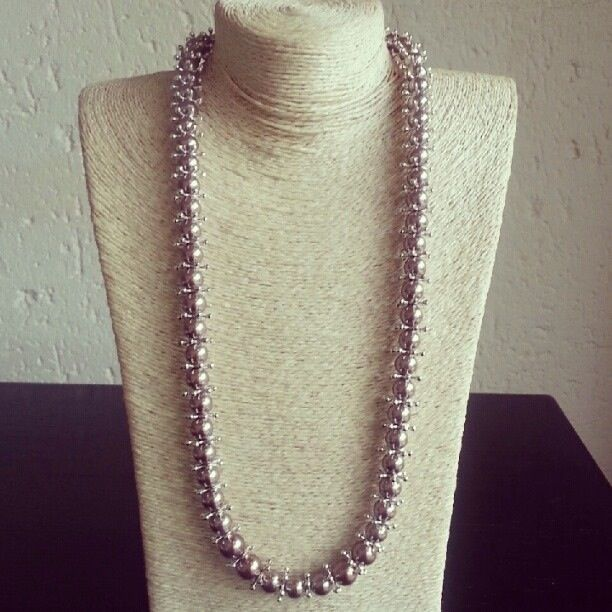 Champagne and silver necklace