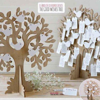 El Árbol de los buenos deseos, ideal sorpresa para tus invitados, o si eres invitado para los Novios, Dejad escrito vuestro mensaje de felicidad futura en las tarjetitas, luego usa el arbol como joyero de diario