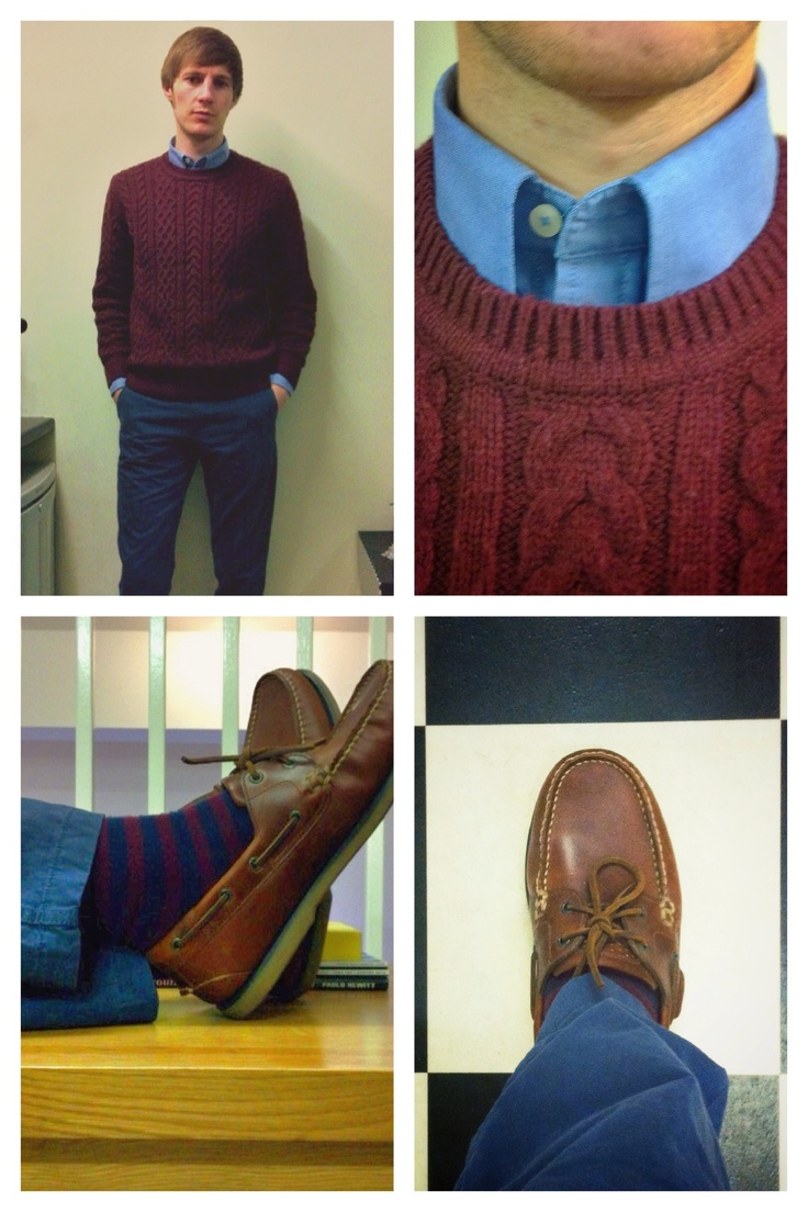 Blue OCBD - Wine Cable Knit Jumper - Blue Lived-In Chinos - Wine & Navy Striped Socks - Cherry Brown Leather Deck Shoes