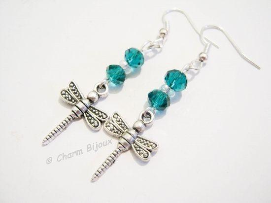 Cercei libelula cu cristale si argint tibetan, by charm.bijoux, 6 Lei