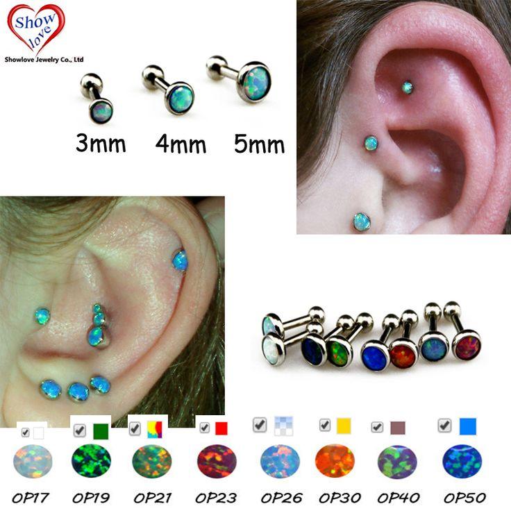 Showlove-1pcs Opal Gem Ear Cartilage Helix Studs Rings Piercing 3mm&4mm&5mm Stud Free Shipping