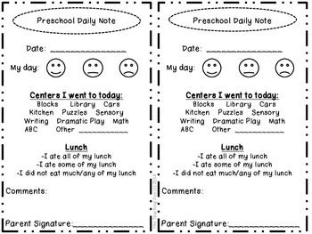 daily sheets for preschool