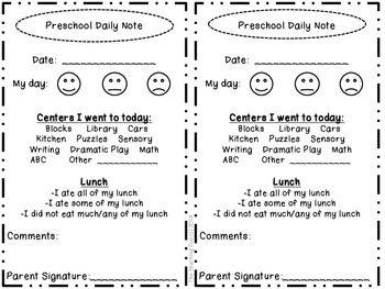 Preschool Daily Note Home