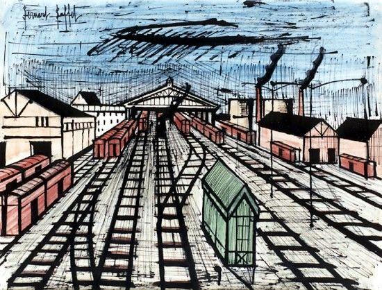 Bernard Buffet - La gare - 1984, mixed media on paper - 50 x 65 cm