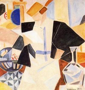 señora en a café - (Rafael Barradas)