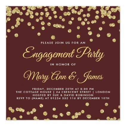 Gold Faux Glitter Confetti Engagement Marsala Card - wedding party gifts equipment accessories ideas