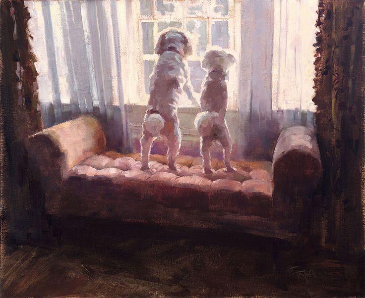 Patrick Saunders Szépművészeti - Kutya Portré - Festészet - Olaj, vászon - Várakozás
