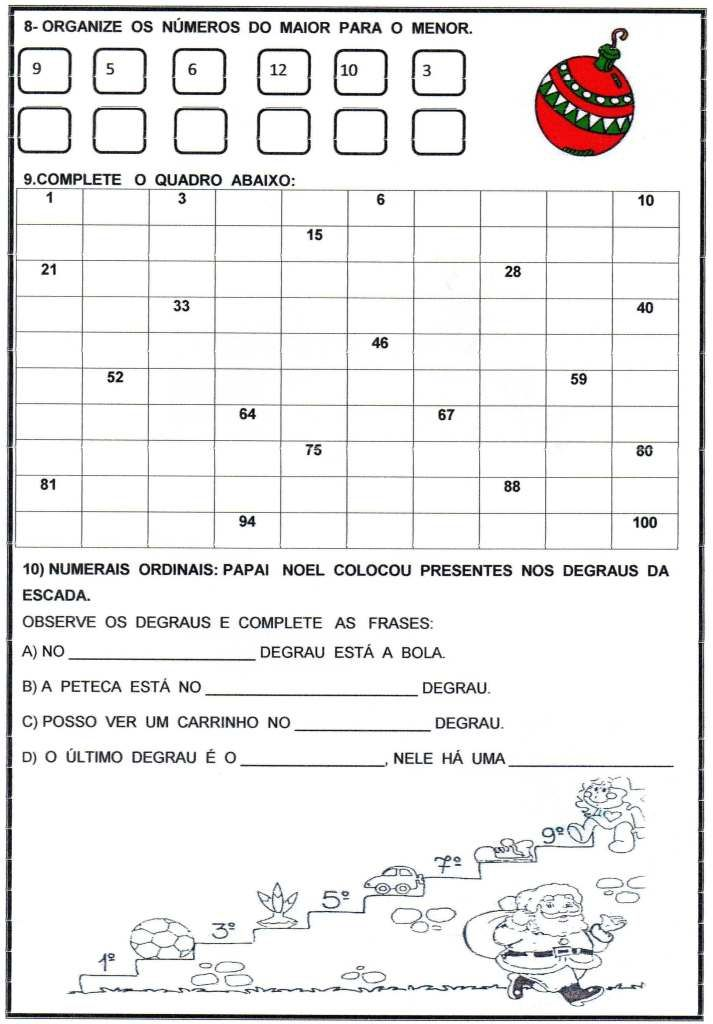 Avaliacao Matematica Natal 3 Trimestre Parte 2 Avaliacao De