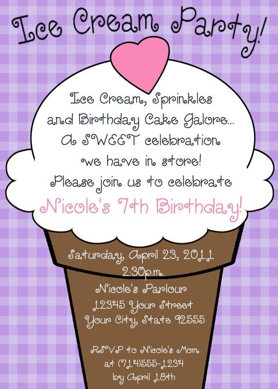 ice cream party invitation wording